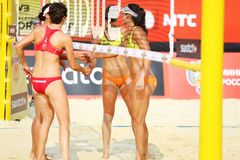 Athlete from USA greet in Country Quota. MOSCOW - JUNE 6: Athlete from USA greet in Country Quota at tournament Grand Slam of beach volleyball 2012, on June 6 Royalty Free Stock Photo