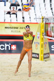 Athlete from USA pitcher in Country Quota. MOSCOW - JUNE 6: Athlete from USA pitcher in Country Quota at tournament Grand Slam of beach volleyball 2012, on June Stock Image