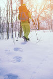 The athlete walks in the snow. Stock Photos