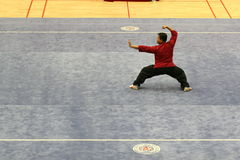 An athlete was playing in a martial art competition at Jinan Uni Stock Images