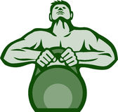 Athlete Weightlifter Lifting Kettlebell Retro Royalty Free Stock Images