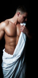 Athlete with white towel Stock Image