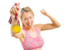 Athlete wining a medal Stock Image