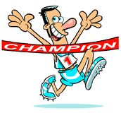 """Athlete winning race. Cartoon illustration of happy athlete reaching the finish line  marked with text """"champion"""" in upper case white letters on red Stock Photography"""