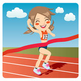 Athlete Woman. Young athlete woman winning Olympic games sprint race competition Royalty Free Stock Photo