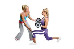 Athlete woman exercise with personal trainer Stock Image