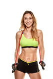 Athlete woman with expander Stock Photos