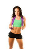 Athlete woman hold a towel after a workout stock photography