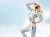 Athlete woman listening to relaxing music. Athlete girl listening to relaxing music Stock Photo