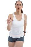 Athlete woman running on white background stock photos