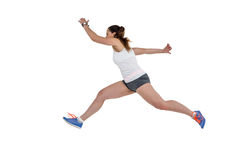 Athlete woman running on white background stock image