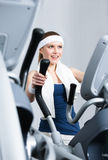 Athlete woman training on gym training in gym Royalty Free Stock Photo