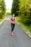 Athlete woman training for running race outdoor stock photography