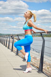 Athlete women's sportswear fit thin physique athletic build Royalty Free Stock Photos