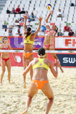 Athlete women from USA play volleyball Royalty Free Stock Photo