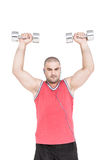 Athlete working out with dumbbells. On white background Stock Photography