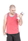 Athlete working out with dumbbells. On white background Stock Photo