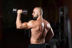 Bodybuilder Exercising Shoulders With Dumbbell Stock Photography