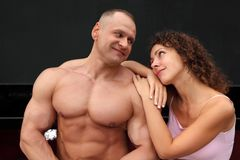 Athlete and young woman Stock Photos