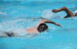 Athleten, die auf einem Schwimmbad schwimmen stockfotos