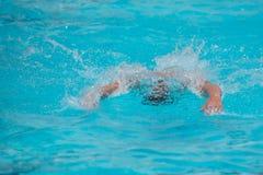 Athleten, die Freistil auf einem Swimmingpool schwimmen lizenzfreies stockfoto