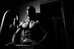 Athleten-Doing Heavy Weight-Übung für Rückseite Stockfoto