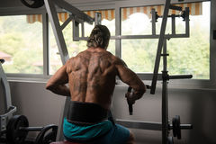 Athleten-Doing Heavy Weight-Übung für Rückseite Lizenzfreies Stockfoto