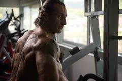Athleten-Doing Heavy Weight-Übung für Rückseite Stockbilder