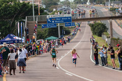 Athleten-Ladys Winner Fan-Kameraden Marathon 2014 Lizenzfreies Stockbild