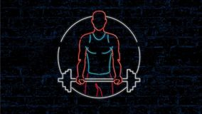 Athleten-Lifting Barbell Neon-Zeichen-2D Animation stock video footage