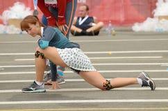 Athleten nach dem Marathon lizenzfreie stockbilder