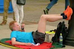 Athleten nach dem Marathon lizenzfreies stockfoto