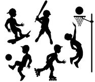 Athletes. Five silhouettes in various sport activities Royalty Free Stock Photo