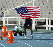 Athletes after the 400 meters hurdles final Stock Image