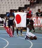Athletes after the 400 meters hurdles final Royalty Free Stock Photos