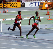 Athletes in the 5000 meters on the 2012 IAAF World Royalty Free Stock Photography