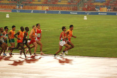 Athletes. With their guides competing during the Beijing 2008 Paralympic Games held in Beijing Tuesday, Sept. 9, 2008 royalty free stock photography
