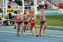Athletes in the 800 meters of the Heptathlon event Stock Image