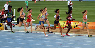 Athletes in the 800 meters of the Heptathlon event Stock Photography