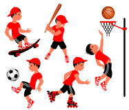 Athletes. Five athletes engaged in different sports activities Stock Photography