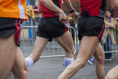 Runners in action. Athletes in action during Marathon. Barcelona 2013 Stock Photos