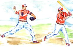 Athletes baseball players: one throwing the ball pitcher and another preparing to hit with bat royalty free illustration