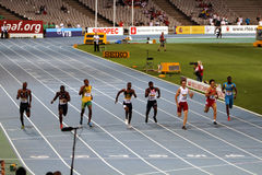 Athletes compete in 200 final. On the 2012 IAAF World Junior Athletics Championships on July 14, 2012 in Barcelona, Spain Stock Images