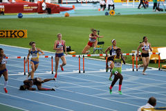 Athletes compete in the 400 meters hurdles final Stock Image