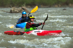 Athletes compete during 2016 Buzau X racee kayak endurance race in Buzau Royalty Free Stock Image