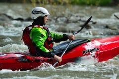 Athletes compete kayak Xrace Stock Photos