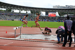 Athletes COMPETE on the 3000 meters steeple. On DecaNation International Outdoor Games on September 13, 2015 in Paris, France Stock Photo
