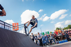Athletes compete at Skateboard Challenge. GRODNO, BELARUS - JUN 18: Athletes compete at Skateboard Challenge 2016 in Grodno, Belarus, June 18, 2016 Royalty Free Stock Images