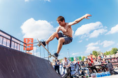 Athletes compete at Skateboard Challenge Royalty Free Stock Image