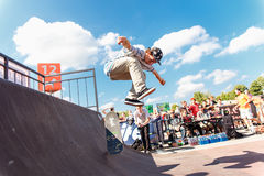 Athletes compete at Skateboard Challenge. GRODNO, BELARUS - JUN 18: Athletes compete at Skateboard Challenge 2016 in Grodno, Belarus, June 18, 2016 Royalty Free Stock Photos